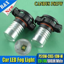 2x PS19W 10W 10V-30V CREE LED H16 PSX24W 9009 5202 Projector Len DRL Bulbs WHITE