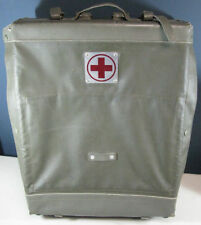 Medic Olive Back Pack Vintage Red Cross Leather Fully Operable Used Nice