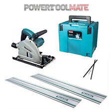 Makita SP6000J1 Plunge Circular Saw with 2x 1.4m Guide Rails, Connector - 110v