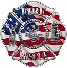 Fire Dept Maltese Cross U.S.A. Flag Tool Box Bumper Sticker Vinyl Decal