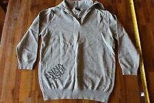 ANNA SUI Gray Cotton Long Sleeve Button over Turtleneck SWEATER Size S