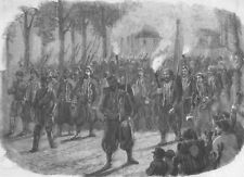 FRANCE. Zouaves quitting Versailles by torchlight, antique print, 1859