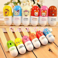 6pcs Novelty Smiling Face Pill Ball Point Pen Telescopic Vitamin Capsule Ballpen
