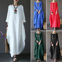 New Women Crew Neck Loose Casual Solid Cotton Baggy Oversized Long Maxi Dress