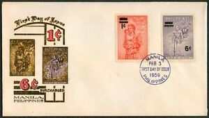 Philippine 1959 One & Six Centavos Surcharged FDC - A