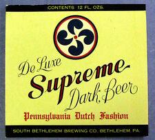 South Bethlehem DE LUXE SUPREME DARK BEER label PA 12oz
