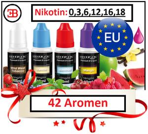 Silver Cig Premium E-Liquid 10ml  E-Zigarette 0/3/6/12/16/18mg Nikotin 42 Aromen
