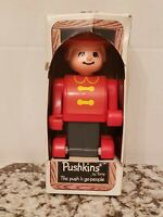 Tomy Pushkins Firefighter Push N Go Zoom Old Play Toy In Box VHTF Vintage.