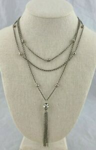 Lois Hill Sterling Silver Cut Out Multi Strand Necklace