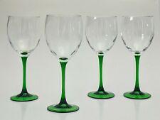 "Green Stem Goblets Wine Glasses Crystal Emerald Durand Luminarc France Tall 8"""