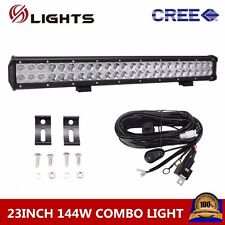 23INCH 144W CREE LED FLOOD SPOT WORK LIGHT BAR OFFROAD SUV LAMP With Wiring Kit