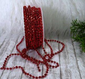 2,70m Schleifenband (0,66 €/m) Perlenband Perlengirlande Weihnachten Kordel rot