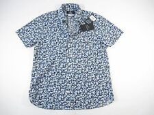 PSYCHO BUNNY ROBERT GODLEY FLORAL BLUE SMALL SHORT SLEEVE BUTTON DOWN SHIRT NWT