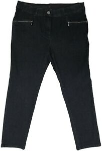 Womens Dark Wash Stretch Denim Straight Leg Jean Zipped Pockets Ladies Plus Size