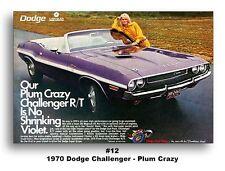 13x19 1970 Dodge Challenger R/T Convertible Ad Brochure Poster Plum Crazy 383 RT