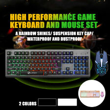 104 Keys USB Wired Gaming Keyboard and 2400DPI Mouse Set Rainbow Backlight Kit