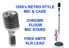 50's Retro Style Heavy Chrome Microphone DM-868,  Mic Stand & Free 6mtr XLR Lead