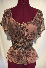 Betsey Johnson Silk Blouse Size 6 Peplum Ruched Floral Pink Short Sleeve