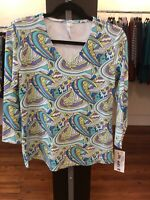 Small Teal Print Lulu B Top UPF 50 Retail $64
