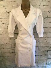 Emanuel Ungaro Ladies Vintage White Short Sleeved Dress US 6 UK 10  EU 38