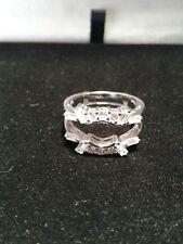 Platinum & Ss 2.00Ctw Lcs Diamond Engagement Wedding Ring Guard Enhancer Sz 9