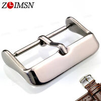 10Pcs Brushed / Polished Watch Buckle Silver Stainless Steel Strap Needle Clasp