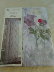 """Life From Coloroll Charlotte Slot top Voile Panel Purple Flowers 55"""" x 90"""" D NEW"""