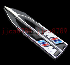 2PCS BMW M sport M Performance Badge Sticker side body 3D logo Blade door Black