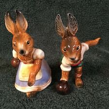 2 Vintage goebel rabbits bowling, his and her, west germany, excellent condition