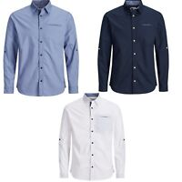Jack & Jones New Mens Smart Casual Long Sleeve Cotton Shirts Stretch 3 Colours