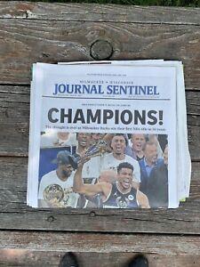Original Milwaukee Sentinel Journal 2021 Bucks Champions Newspaper