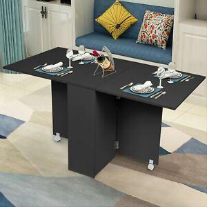 Mobile Drop Leaf Kitchen Folding Dining Table Desk With 2 Wheels Storage Shelves