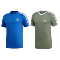 adidas originals California Tee Mens Blue Green 3 Stripe Sports Gym T Shirt