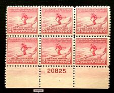 1932 US Stamps SC#716 2c Skier Plate Block of 6
