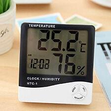 Mini LCD Thermomètre Température Hygromètre Digital Testeur Humidité Horloge NF