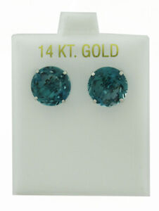 AAA BLUE ZIRCON 10.24 Cts STUD EARRINGS 14K WHITE GOLD * New With Tag *