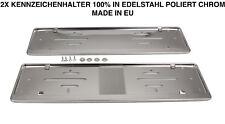 2x Kennzeichenhalter Nummernschildhalter Edelstahl Chrom Rostfrei Made in EU (34