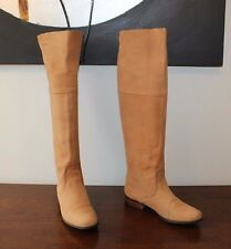 Beige Leather RIVER WOODS Pull On Low Heel Knee High Riding Boots Size 6 / 39