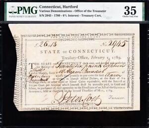 *RARE* 1789 Hartford, CT Colonial Era Treasury Certificate! 6% interest! PMG 35!