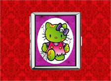 HELLO ZOMBIE KITTY CAT WEB SKULL METAL WALLET CARD CIGARETTE ID IPOD CASE
