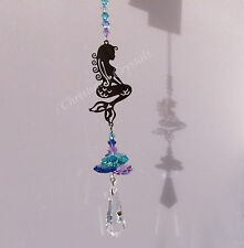 MERMAID Sun Catcher Mobile with Cut Glass Crystal Rainbow Maker Feng Shui
