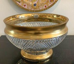 Vintage Bohemia Czechoslovakia Gold and 24% Lead Cut Crystal Bowl or Centerpiece