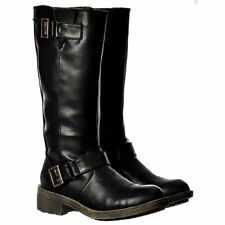 WOMENS LADIES ROCKET DOG TERRY VINTAGE MID CALF BIKER BOOTS BROWN BLACK SIZE