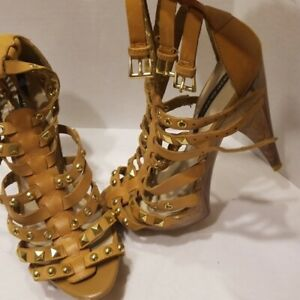 River Island Women Gold Tan Color Wood Grain Strappy High Heel Shoes - Size 8