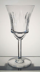 "VAL ST LAMBERT CRYSTAL Wine or Water Goblet 7"", Hex Stem, BIRKS, REED'S CHINA"