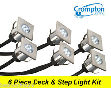 6 Piece Square LED Deck & Step Light Kit DIY Stainless Steel - Complete Kit!
