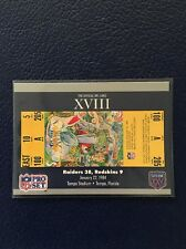 OAKLAND RAIDERS 1990 Pro Set SUPER BOWL XVIII Ticket Stub #18  MINT