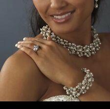Nuptiale mariage collier boucle d'oreille bracelet bijoux perle de cristal partie luxe
