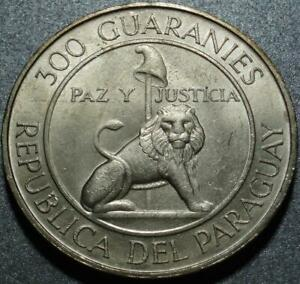 1968 Only PARAGUAY Crown Size SILVER 300 GUARANIES 4th Term PRESIDENT STROESSNER