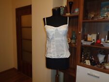 ROSSODISERA WHITE COTTON CRYSTAL DETAIL LACED CROPPED CAMISOLE BUSTIER-SIZE M